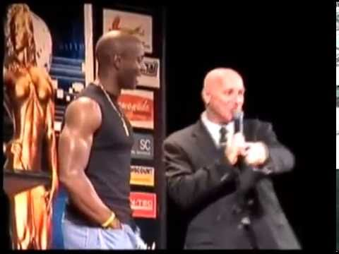 WBFF Pro Obi Obadike speaking at the podium at the 2009 ASIA Pac